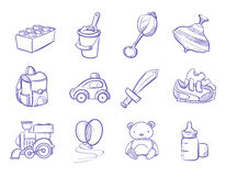 Children doodle toys and dolls, vector sketch collection Royalty Free Stock Images