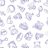 Children doodle vector background with toys. Cute hand drawn kids seamless pattern Stock Photo