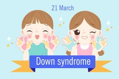 Children with down syndrome concept vector illustration