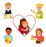 Children with Down syndrome. Doing different activities like learning and playing, working and drawing, Cartoon vector illustration Royalty Free Stock Image