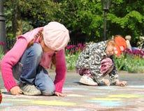Children draw royalty free stock photos