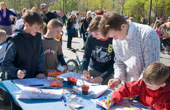 Children draw. International Day of Families in Saint-Petersburg. Russia Royalty Free Stock Image