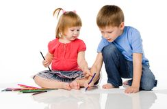 Children draw color pencils stock photography