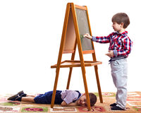 Children draw. With chalk on a blackboard white background Stock Photography