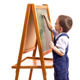 Children draw. With chalk on a blackboard white background Royalty Free Stock Photo