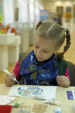 Children draw on the glass Stock Photography