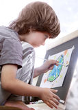 Children draw in home stock images