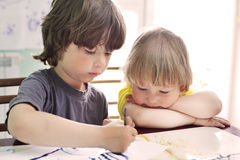 Children draw in home stock photography