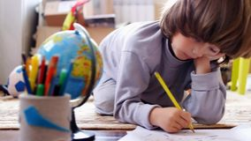 Children draw in home stock footage