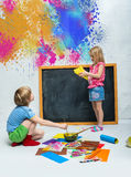 Children draw Royalty Free Stock Images