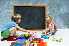 Children draw Royalty Free Stock Photography