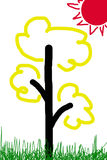 Children draw a tree with the sun Royalty Free Stock Photography