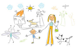 Children drawing royalty free illustration