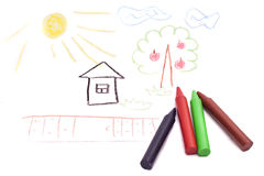 Children drawing. Colored Pencils close up Royalty Free Stock Images