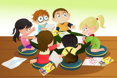 Children drawing. A  illustration of a group of children drawing with crayons Stock Images