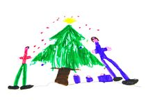 Children drawing. Kid's handmade drawing showing christmas time Stock Photos