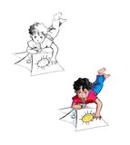 Children drawing. Illustration. Nice child is drawing his funny masterpieces Stock Photo