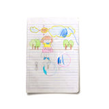 Children drawing art on book Royalty Free Stock Image