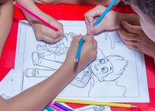 Children drawing in art stock image