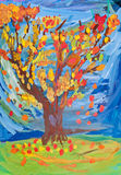 Children drawing - autumn tree witn fall leaves Royalty Free Stock Images