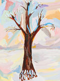Children drawing - bare oak in winter Stock Photo