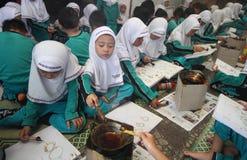 Children drawing batik pattern Stock Photo
