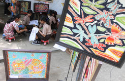 Children drawing batik pattern Stock Photos