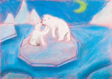 Children drawing - bear with a cub on an ice floe Stock Image