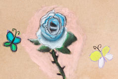 Children drawing - blue rose and two butterflies Royalty Free Stock Image