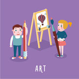 Children drawing. Boy and girl studying in an art class Stock Photography