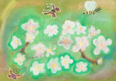 Children drawing - Butterflies fly over meadow Royalty Free Stock Photography