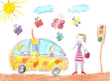 Children drawing car trip Royalty Free Stock Images