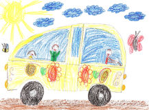 Children drawing car trip Stock Photo