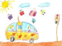 Children drawing car trip Royalty Free Stock Photos