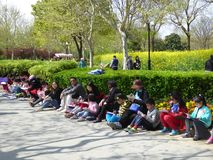 Children drawing at century park Stock Photo