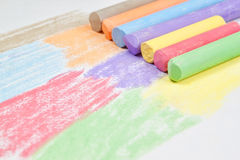 Children drawing with chalk. Close-up Royalty Free Stock Images