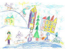 Children drawing.Children playing in the winter. Stock Photos