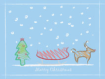 Children drawing Christmas background. Christmas  background with reindeer , kid style Royalty Free Stock Photo