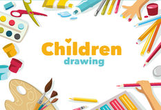Children drawing color background, banner Stock Images