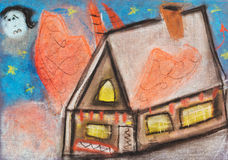 Children drawing - country house in night Royalty Free Stock Images