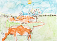 Children drawing - cow and country landscape Royalty Free Stock Photos