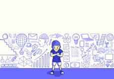Metaphor background. A children drawing creative idea picture by imagination on the wall vector illustration