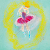 Children drawing - dancing ballerina Stock Photos