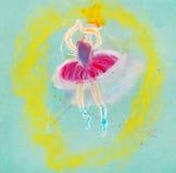 Children drawing - dancing ballerina Stock Photos