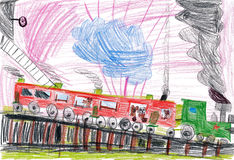 Children drawing. dogs travel by train Stock Image