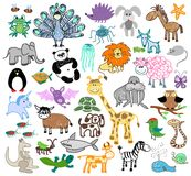 Children drawing doodle animals Royalty Free Stock Image