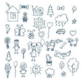 Children drawing. Doodle set of objects from a child's life Stock Photos