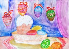 Children drawing. Easter cake and Easter eggs on blue background Royalty Free Stock Photography