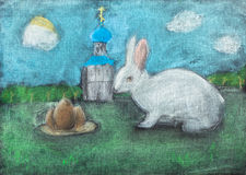 Children drawing of Easter symbols by dry pastel. Children drawing of Easter symbols - church, eggs, Easter bunny outdoors by dry pastel Royalty Free Stock Image