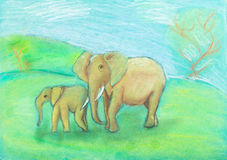 Children drawing - Elephant with baby the savannah Stock Image